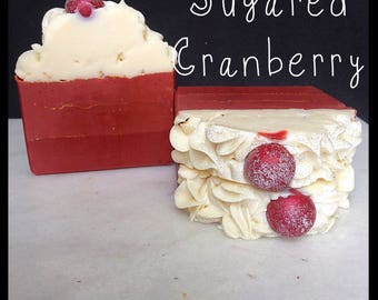 Sugared Cranberry Soap - Handmade Soap - Artisan Soap - Bar Soap - Fruity Soap - Silk Soap - Made with Silk!