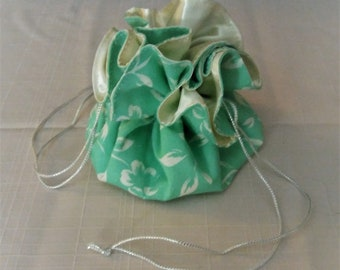 portable jewelry bag - mint green with white flowers