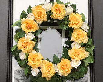 Yellow Rose Wreath | Spring Wreath | Summer Wreath | Rose Grapevine Wreath | Liberty Way Designs