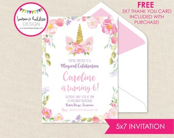 Unicorn Birthday, Unicorn Birthday Invitation, Unicorn Watercolor Invitations, Unicorn Birthday Decorations, Lauren Haddox Designs