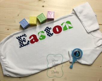 Personalized Baby Boy Gown, Personalized Baby Boy, Newborn Gown, Personalized Baby Gown, Monogrammed Baby Outfit, Going Home Outfit