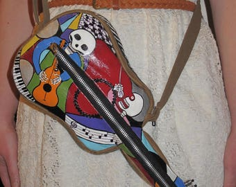 Day of the Dead Guitar Purse, Gifts for Sugar Skull Lovers