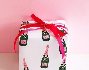 Cute Wrapping Paper: Bubbly Champagne Gift Wrap (pink and green wrapping paper)
