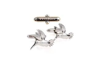 Custom Cufflinks,hummingbird  cufflinks,Silver cufflinks,Personalized Wedding Cufflinks,bird cuff links,Birthday,Best Man Gift,Groomsman