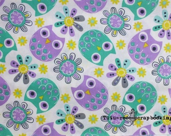 coupon fabric fat quarter child baby girl OWL OWL green yellow purple colours Couture couture