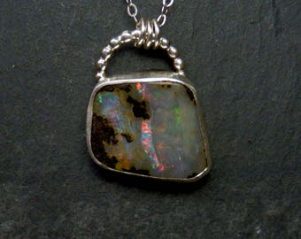 Australian boulder opal necklace / natural opal / boulder opal / October birthstone / opal jewelry / opal pendant / ready to ship / gift