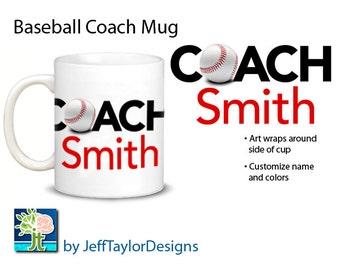 Personalized Baseball Coaches Gift Coffee Mug