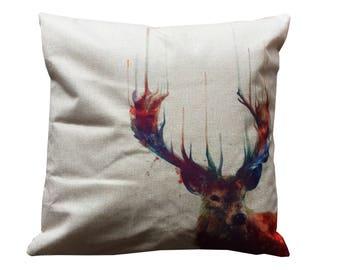 Canvas pillow. Decorative pillow. Printed pillow. cushion. Printed pillow cover. Accent throw pillow. Reindeer pillow covers. Moose pillow