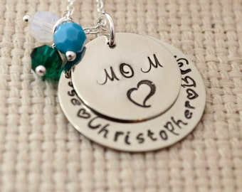 Personalized Mother's Day Necklace, Hand Stamped Mommy Jewelry, Custom Neckace, Mom, Mommy, Mother, Birthstone