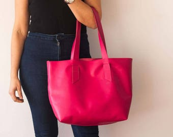 Unlined leather tote bag in hot pink, woman soft leather purse pebbled large purse with pockets simple tote market bag - Calisto bag