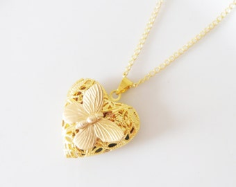Pretty Gold Butterfly Love Heart Locket Picture Necklace, Keepsake, Feminine, Simple, Pattern