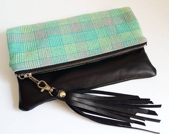 UPCYCLED Foldover Clutch. Leather Bag. Fringe Tassel. Repurposed Bag. Repurposed Leather Bag. Leather Clutch. Ready To Ship.