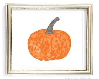 Pumpkin Art Print - Fall Wall Art - Orange Pumpkin on White - Fall Decor - Halloween Decor - Aldari Art
