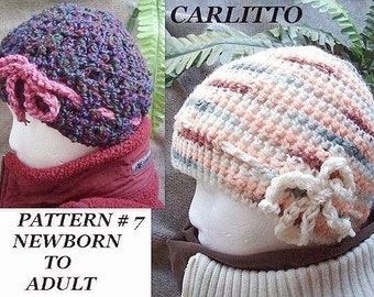 Crochet Pattern number 7,  Peach hat , Newborn to adult sizes.Crochet for beginners.Instant download