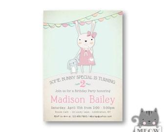 2nd Birthday Invitation /  Bunny Birthday / Kid's Birthday / Bunny Birthday Party Invitation / Girl's Invitations / Any Age / 1st bday / 1a