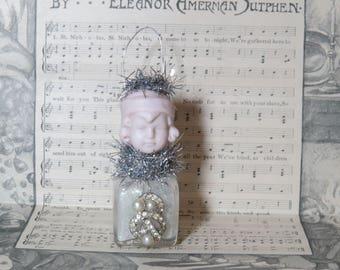 Christmas Vintage Doll Ornament- Pink Doll head on  vintage glass salt shaker