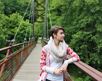 Hand Knit Tan Infinity Scarf, Herringbone Scarf, Knit Eternity Scarf, Scarf for Women and Teens