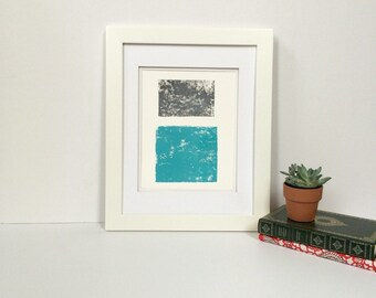 Light Blue and Grey Summer Minimalist linocut art 9x12 limited edition