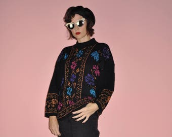 Vintage 80s 90s Black Metallic Floral Holiday Baroque Copper Pink Blue Sweater L