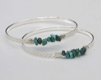 Turquoise bracelet / Bracelet ring chips natural turquoise silver/stone / fine gemstone jewelry