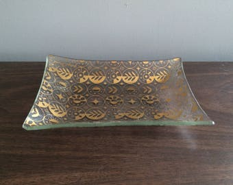 Georges Briard Gold Plated Glass Dish