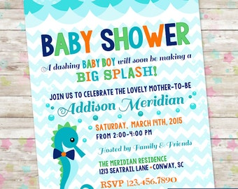 Seahorse Invite, By the Sea Baby Shower, Beach Baby Shower, Baby Boy, Baby Shower Idea, Summer, Printable Invite, Chevron, Nautical Invite