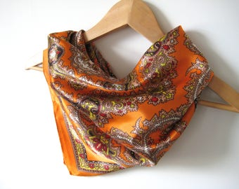 Vintage Scarf Orange Gold Pattern Vintage Scarf