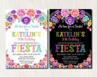 Mexican Birthday Invitation, Fiesta Birthday Invitation, Fiesta Birthday Party, 30th 40th 50th 60th 70th 80th Any age, DIGITAL FILE - 1840