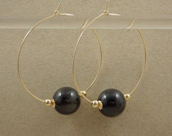 "Golden Sheen Obsidian 14kt YG Filled Hoop Earrings - 1.75"""