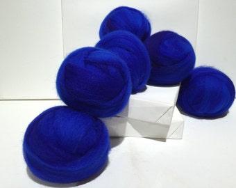 True Blue wool roving, Needle Wet Felting Spinning Fiber, Royal Blue, Bright Blue, cobalt blue roving