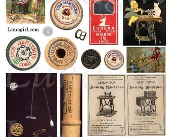 Vintage SEWING NOTIONS digital collage sheet, wooden spools thread needles pins sewing machine, Victorian ads altered art ephemera DOWNLOAD