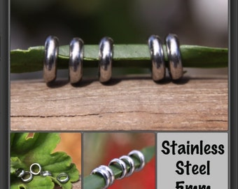 20 Stainless Steel Dread Rings Dreadlock Beads 5mm Hole (3/16 Inch)