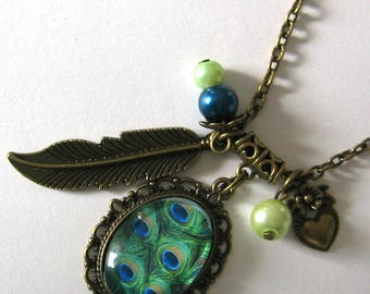 Necklace cabochon 18x25mm jewel * Peacock feather *.