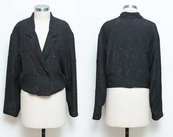 Textured Jacket // Black Cropped Blazer // 90s Lightweight Polyester Double Breasted Long Sleeve Collared Bolero Size Large
