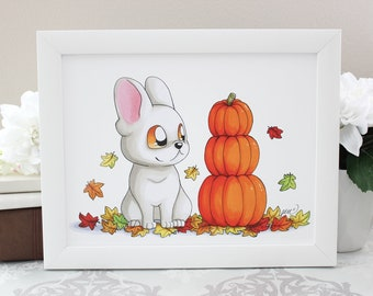 Autumn French Bulldog -  Print 8.5x11 or 4x6 inches - Cute White Frenchie Pet Dog with Pumpkins in Fall Halloween November Autumn Art
