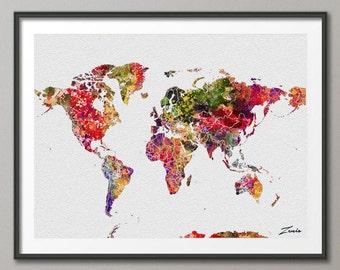Watercolor World map watercolor poster watercolor art  watercolor map world map deocr print poster map decor watercolor world map A117-3