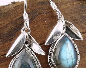 LABRADORITE jewelry, boho EARRINGS leaf stone protection, healing care mineral stone jewelry natural aje1.7