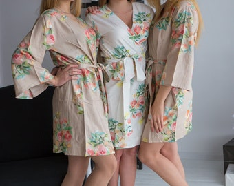 Premium Champagne Bridesmaids Robes - Dreamy Angel Song Pattern - Soft Rayon Fabric - Better Design - Perfect as getting ready robes