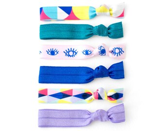The Wink Package - 6 Elastic Geometric and Eye Print Hair Ties that Double as Bracelets by Mane Message and BelloPOP on Etsy