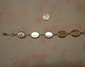 "7 1/2"" Silver Tone Link Bracelet w/ 5 Settings for 18 x 13mm Flat-Back Oval Stones"