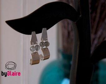 PATH / Sterling silver earrings with grey moon stones
