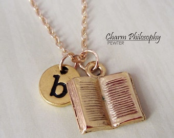 Gold Book Necklace - Initial Necklace - Antique Gold Pewter Jewelry - Open Book Necklace