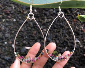 Lg Tourmaline wire wrapped 925 silver Hoops