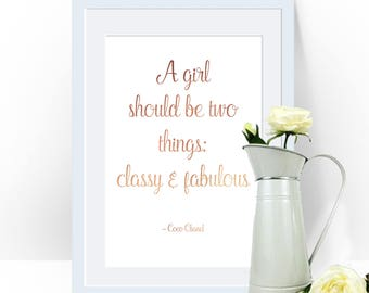 A Girl Should Be, Two Things, Classy And Fabulous, Coco Chanel Print, Chanel Art, Chanel Print, Gold Foil Wall Print, Foil Typography,