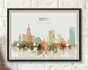 Buffalo City Print Color Skyline NY Digital Poster Watercolor Cityscape Printable Wall Decor Download Big Size