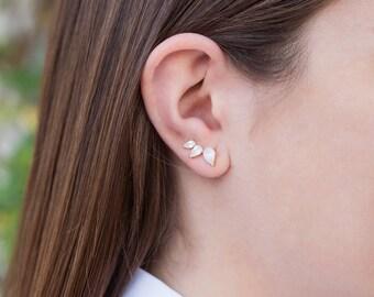 Climber earrings, Mineral earrings, Stone earrings, Zircon earrings, Dainty jewelry, Minimalist jewelry, Silver jewelry, Zc earrings