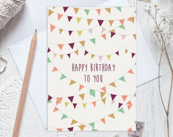 Happy birthday card, birthday card, birthday bunting card