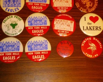 12 Vintage Minnesota North Dakota High School sports pinback buttons 1970s 1980s