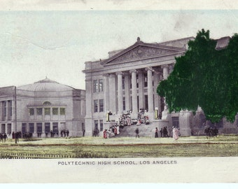 Students @ Polytechnic High School LOS ANGELES California Antique 1906 POSTCARD Post Card
