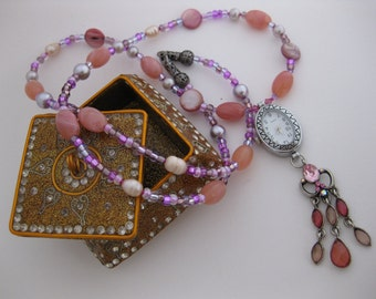 Bright Strawberry Pink Mother-of-Pearl Shell Beaded Nurses Watch Necklace w/Lilac Glass Pearls, Purple Swarovski Crystals & Dangling Pendant